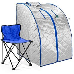 Durasage Infrared IR Far Portable Indoor Personal Spa Sauna with Heating Foot Pad and Chair, X-L ...