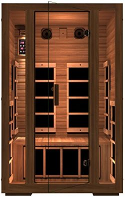 JNH Lifestyles Freedom 2 Person Canadian Western Red Cedar Wood Far Infrared Sauna, 7 Carbon Fib ...