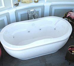 Spa World Venzi Vz3471aw Velia Oval Whirlpool Bathtub, 34×71, Center Drain, White