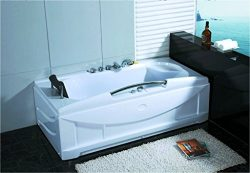 Hydrotherapy Massage White Recessed Bathtub Tub with , 1 One Person, with BLUETOOTH UPGRADE Remo ...