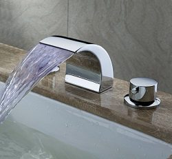 Greenspring Deck Mount Double Handles Led Waterfall Contemporary Widespread Bathroom Sink Faucet ...