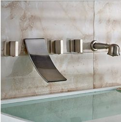 GOWE Wall Mounted Widespread Waterfall Bathtub Mixer Faucet Three Handles with Handheld Shower B ...