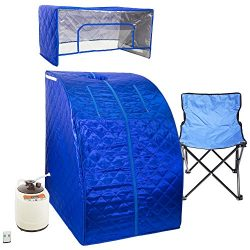 WYZworks Blue Portable Therapeutic Personal Steam Sauna Spa Room 2L Water Capacity with Headcove ...