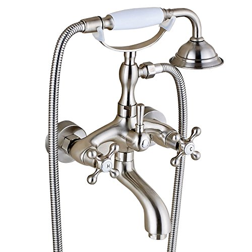 Votamuta Stainless Steel 6-Inch Centers Two Handle Bathroom Clawfoot Bathtub Shower Faucet Wall- ...