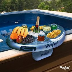 Official 'Perfect Pools' Spa Bar Inflatable Hot Tub Side Tray for Drinks and Snacks  ...
