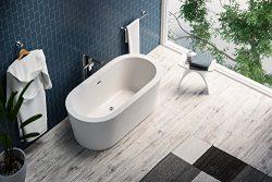 MAYKKE Harrow 59 Inches Modern Oval Acrylic Bathtub Freestanding White Tub in Bathroom cUPC cert ...
