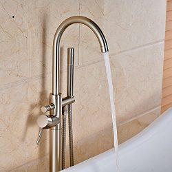 Votamuta Modern Nickel Brushed Free Standing Bathtub Shower Mixer Taps Floor Mounted Tub Shower  ...