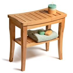 Bamboo Shower Seat Bench with Storage Shelf for Seating, Support & Relaxation, Spa Bath Benc ...