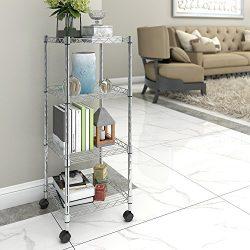 Lifewit 4 Tier Rolling Cart Wire Storage Shelf with Wheels, Adjustable Square Corner Rack for Li ...