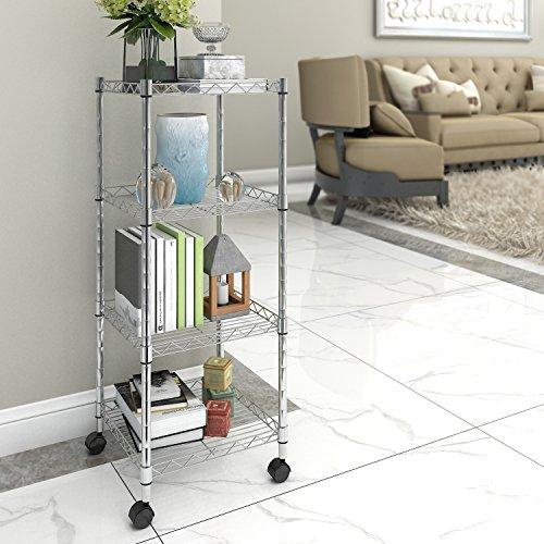 Lifewit 4 tier rolling cart wire storage shelf with wheels - Bathroom storage cart with wheels ...