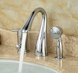 Rozin Deck Mount 3 Holes Bathtub Faucet Single Lever Mixer with Handheld Shower Chrome Finish