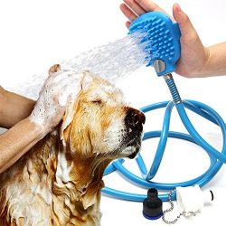 Dog Shower Sprayer Wand Washer Combination Sprayer and Scrubber, Indoor / Outdoor Use, Pet Showe ...