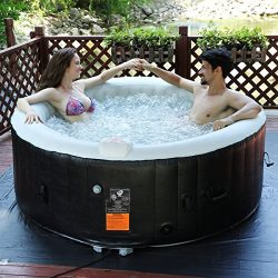 Goplus 4 Person Portable Inflatable Hot Tub for Outdoor Jets Bubble Massage Spa Relaxing w/ Cove ...