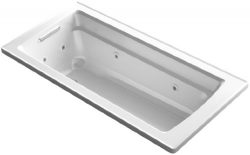 KOHLER K-1949-0 Archer ExoCrylic 66-Inch x 32-Inch Drop-In Whirlpool Bath with Reversible Drain, ...