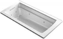KOHLER K-1949-0 Archer ExoCrylic 66-Inch x 32-Inch Drop-In Whirlpool Bath with Reversible Drain, ...