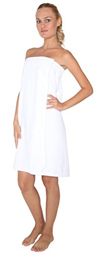 Arus Women's Organic Turkish Cotton Adjustable Closure Spa Shower and Bath Wrap S/M White