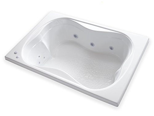 Carver Tubs – TMS7248 Rectangle Drop In – 12 Jet, Self Draining Whirlpool Bathtub wi ...