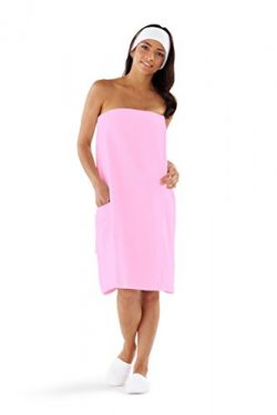 Boca Terry Women's Spa Wrap – 100% Cotton PINK Spa, Shower and Bath Towel – XXL
