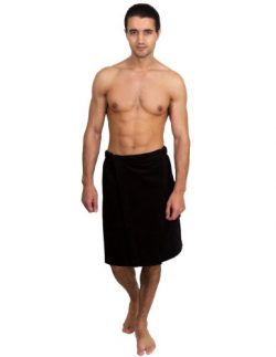 TowelSelections Cotton Terry Velour Bath Towel Shower Wrap for Men Large/X-Large Black