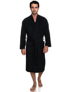 TowelSelections Men's Robe, Turkish Cotton Terry Kimono Bathrobe Medium/Large Phantom Black