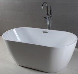 "FerdY Bathroom Freestanding Acrylic Soaking Bathtub White Color (59"")"