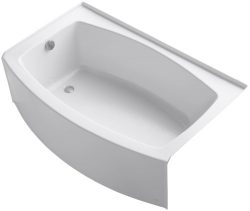 KOHLER K-1100-LA-0 Expanse Curved Integral Apron Bath with Left-Hand Drain, White