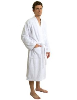 TowelSelections Men's Robe, Turkish Cotton Terry Kimono Bathrobe Medium/Large White