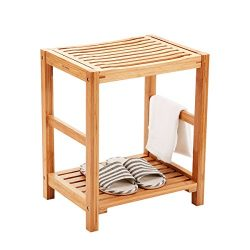 Shower Seat Bench Stool with Storage Shelf Indoor &Outdoor Bench with 100% Bamboo Bathtub