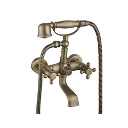 Amyfaucet Brass Wall Mounted Shower Set Bathtub Faucet with Hand Shower Telephone Style Z2015088305
