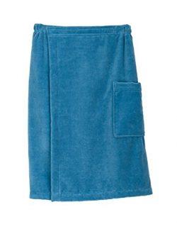 TowelSelections Cotton Terry Velour Bath Towel Shower Wrap for Men Large/X-Large Niagara Blue