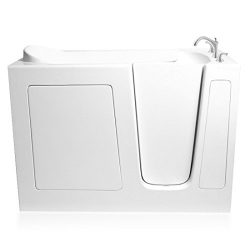 Ariel EZWT-2651-SOAKER-R Gelcoat Fiberglass Walk in Bathtub Right Side Drain, 51″H x 36 ...
