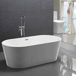 KIVA RHYME 59″ Freestanding Bathtub, 100% Pure Acrylic Soaking Bath Tub for Bathroom, cUPC ...