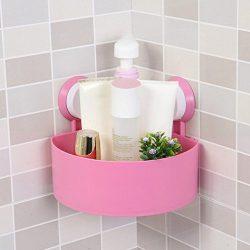 Binmer(TM) Suction Cup Bathroom Kitchen Corner Storage Rack Organizer Plastic Shower Shelf (Pink)