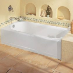 American Standard 239 Princeton Above Floor Americast Recessed Bath Tub Finish: White, Drain: Le ...