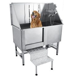 Happybuy 50″ Professional Stainless Steel Pet Dog Grooming Bath Tub with Faucet Walk-in Ra ...