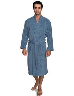 TowelSelections Men's Robe, Turkish Cotton Terry Kimono Bathrobe Large/X-Large Coronet Blue
