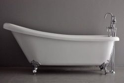 73″ Hotel Collection Single Slipper CoreAcryl Clawfoot Bath Tub & Faucet Pack, Chrome  ...