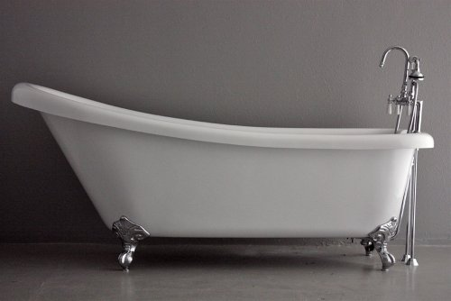73″ Hotel Collection Single Slipper CoreAcryl Clawfoot Bath Tub & Faucet Pack, Chrome  ...