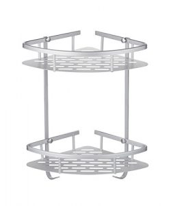 CRW Anti-rust Wall Mounted Space Aluminum 2-Tier Shower Caddy Shelf Bathroom Corner Bath Rack St ...