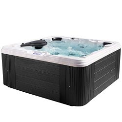Essential Hot Tubs – Civility – 60 Jets, Acrylic Hot Tub, Grey