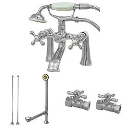 Kingston Brass CCK268C Vintage Deck Mount Claw Foot Faucet Package, 6-Inch, Polished Chrome