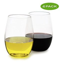 fullerLIFE – Unbreakable Stemless Wine Glasses Ultra-Thin – Standard 16oz size &#821 ...