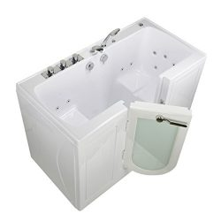 Ella O2SA3060 Tub4Two Acrylic Hydro Massage Outward Swing Door Walk-in Bathtub with in-Line Wate ...