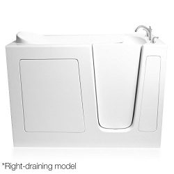 Ariel Bath EZWT-3054-DUAL-R Walk in Bathtub Right Side Drain with 6 Whirlpool/18 Air Jets and In ...