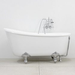 58″ Hotel Collection Swedish Slipper Clawfoot Bath Tub & Faucet Pack, Chrome Fixtures  ...