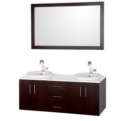 Wyndham Collection Arrano 55 inch Double Bathroom Vanity in Espresso, White Man-Made Stone Count ...