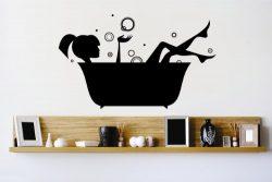Vinyl Wall Decal Sticker : Bathtub Girl Woman Bubbles Water Clean Bathroom Bedroom Bathroom Livi ...