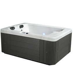 Essential Hot Tubs – Devotion – 24 Jets, Lounger Acrylic Hot Tub, Grey