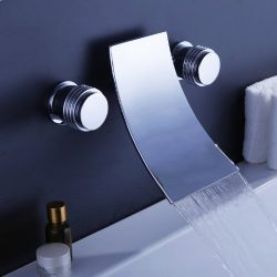 Lightinthebox Contemporary Wall Mount Double Handle Brass Bathroom Sink Bathtub Faucet Mixer, Ch ...