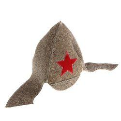 Budenovka Sauna Hat Gray Wool Felt Military Style Soviet Red Army Red star